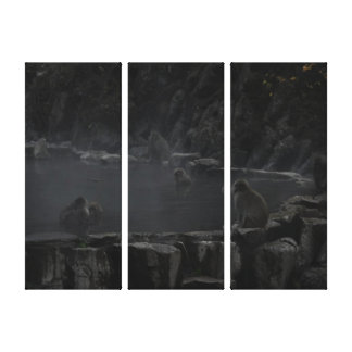 Macaques el las aguas termales, en Fuente Termal d Impresión En Lienzo Estirada