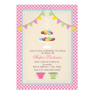 Macaron Birthday Tea Party Invitation Pink Gingham