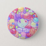 """Macaron Button<br><div class=""""desc"""">Bright,  colorful,  and super sweet! Featuring one of Dollightful's most popular dolls,  Macaron. This super cute button is sure to bring you a smile,  and maybe make you kind of hungry. Sorry about that.</div>"""