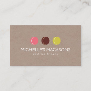 Cookies business cards templates zazzle macaron cookie trio logo on kraft paper for bakery business card colourmoves