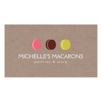 MACARON COOKIE TRIO LOGO on KRAFT PAPER for Bakery Business Card