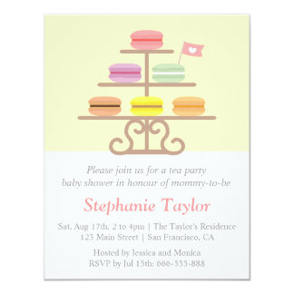 Macaron Dessert, Tea Party Baby Shower, Mom to Be 4.25x5.5 Paper Invitation Card