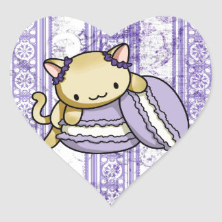 Macaron Kitty Heart Sticker