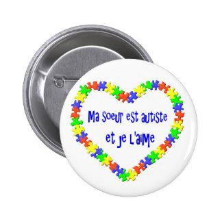 Macaron Ma soeur est autiste et je l'aime Button