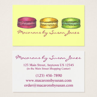 Macaron Macarons French Bakery Baked By Cookie Business Card