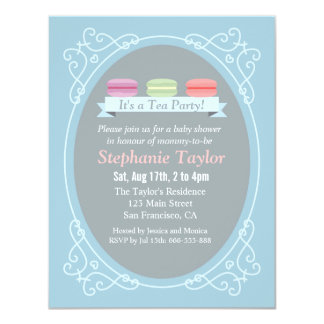 Macaron Tea Party Baby Shower, Blue and Grey 4.25x5.5 Paper Invitation Card