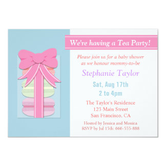 Macaron Tea Party Baby Shower, Blue and Pink Announcement