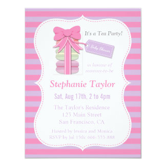 Macaron Tea Party Baby Shower, Pink and Purple 4.25x5.5 Paper Invitation Card