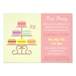 Macaron Tea Party Baby Shower, Sweet Pink Card