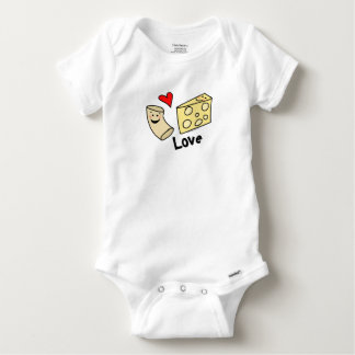 Macaroni Loves Cheese, Heart Girl/Boy Funny Cute Infant Onesie