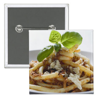 Macaroni with mince sauce and cheese 2 inch square button