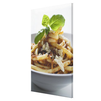 Macaroni with mince sauce and cheese canvas print