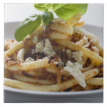 Macaroni with mince sauce and cheese ceramic tile