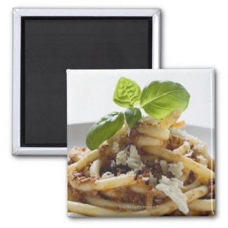 Macaroni with mince sauce and cheese refrigerator magnet