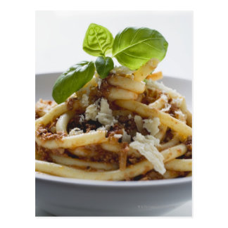 Macaroni with mince sauce and cheese postcard
