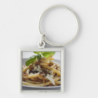 Macaroni with mince sauce and cheese Silver-Colored square keychain