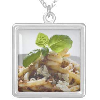 Macaroni with mince sauce and cheese square pendant necklace