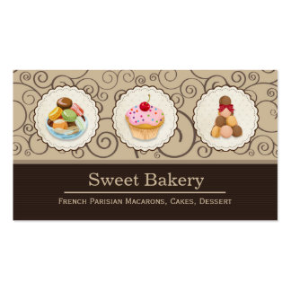 Macarons and Cupcakes Logos Elegant Bakery Store Double-Sided Standard Business Cards (Pack Of 100)