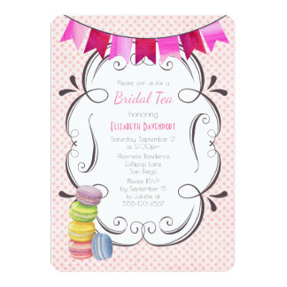 Macarons and Pink Polka Dots Bridal Tea Card
