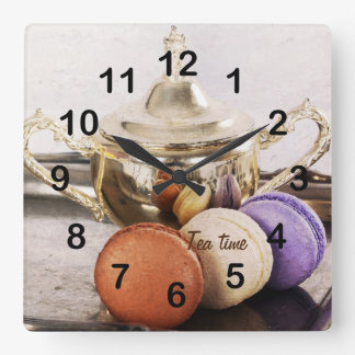 Macarons and silverware teatime square wall clock