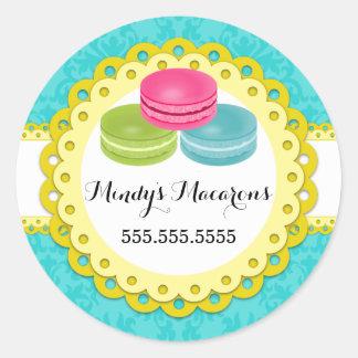 Macarons Bakery Damask Yellow Scallop Seals Classic Round Sticker