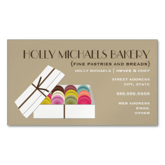 Macarons Bakery Magnetic Business Cards Magnetic Business Cards (Pack Of 25)