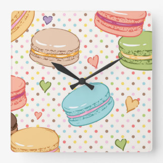 Macarons,cookies,french pastries,food hipster,tren square wall clock