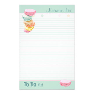 Macarons dots lined To-Do List Custom Stationery