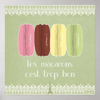 Macarons en París y cordón Póster