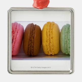 Macarons franceses gastrónomos importados adorno navideño cuadrado de metal