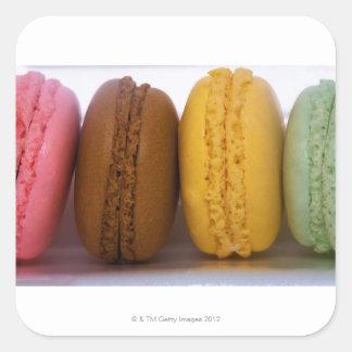 Macarons franceses gastrónomos importados pegatina cuadrada