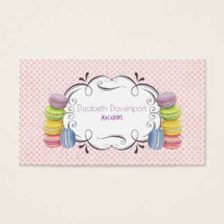 Macarons French Dessert in Pastel Watercolors Business Card