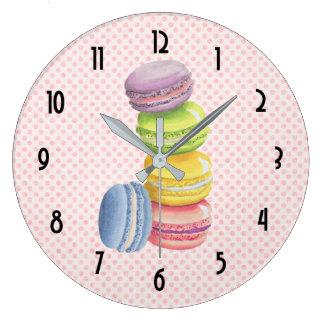 Macarons French Dessert Pastel Watercolors Large Clock
