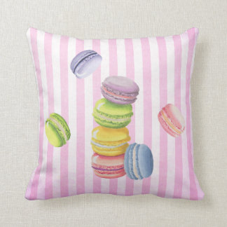 Macarons French Pastry in Pastel Watercolors Throw Pillow