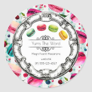 Macarons French Pastry in Watercolors Business Classic Round Sticker