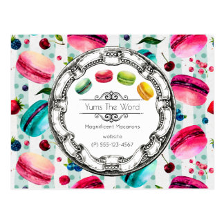 Macarons French Pastry in Watercolors Custom Postcard