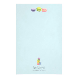 Macarons French Pastry in Watercolors Stationery