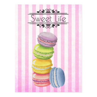 Macarons French Pastry Pastel Watercolor Postcard