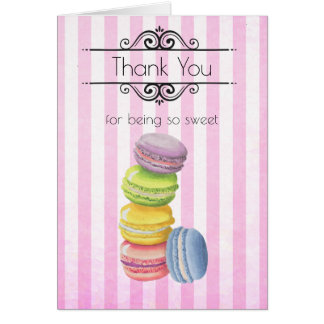 Macarons French Pastry Pastel Watercolor Thank You Card