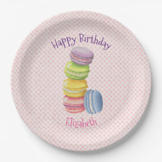 Macarons French Pastry Polka Dots Happy Birthday Paper Plate