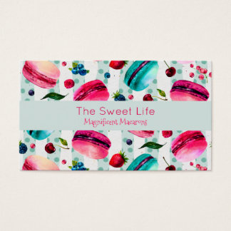 Macarons French Pastry With Berries And Polka Dots Business Card