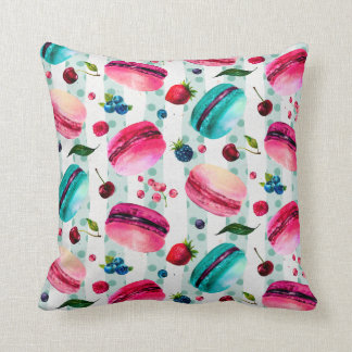Macarons French Pastry With Berries And Polka Dots Throw Pillow