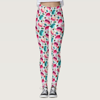 Macarons French Pastry With Berries Pattern Leggings