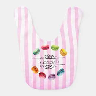 Macarons In A Circle | French Pastry in Watercolor Baby Bib