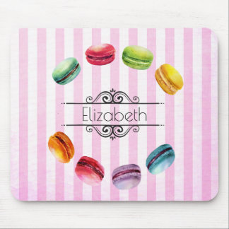 Macarons In A Circle   French Pastry in Watercolor Mouse Pad