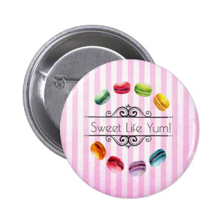 Macarons In A Circle   French Pastry in Watercolor Pinback Button