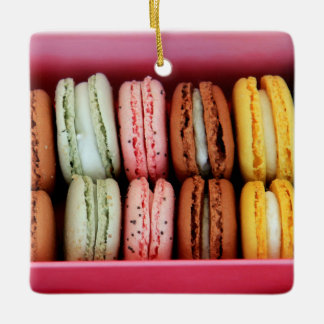 Macarons in different colors ceramic ornament