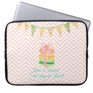 Macarons Life is Short Eat Dessert First Chevron Laptop Sleeve