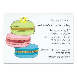 Macarons Macaroon Cookies Birthday Tea Party Card