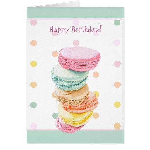 Macarons puntea la tarjeta de cumpleaños